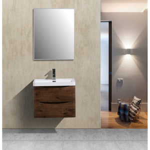 "Eviva Smile 28"" Rosewood Wall Mount Modern Bathroom Vanity with White Integrated Acrylic Top Eviva Vanities Rosewood"