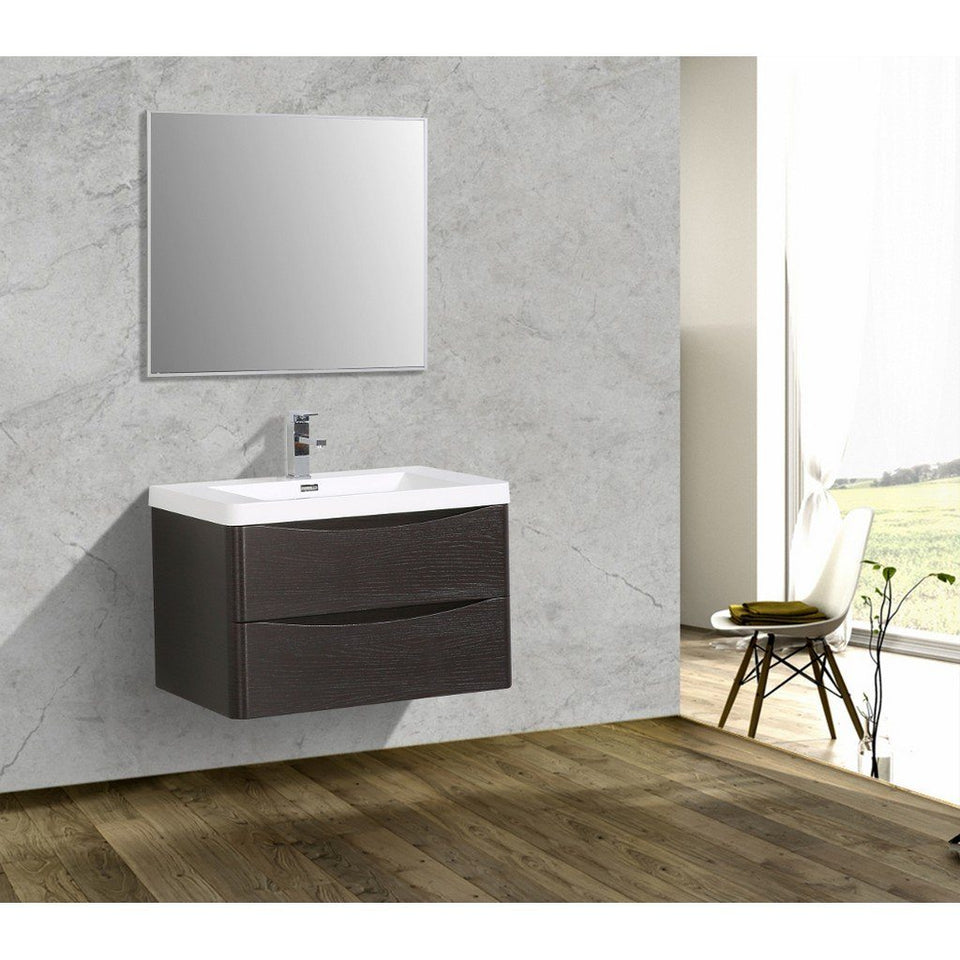 "Eviva Smile 30"" Wall Mount Modern Bathroom Vanity with White Integrated Acrylic Top Eviva Vanities"