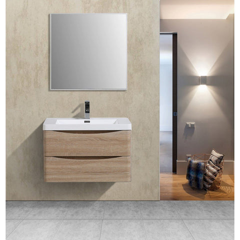 "Eviva Smile 30"" Wall Mount Modern Bathroom Vanity with White Integrated Acrylic Top Eviva Vanities White Oak"