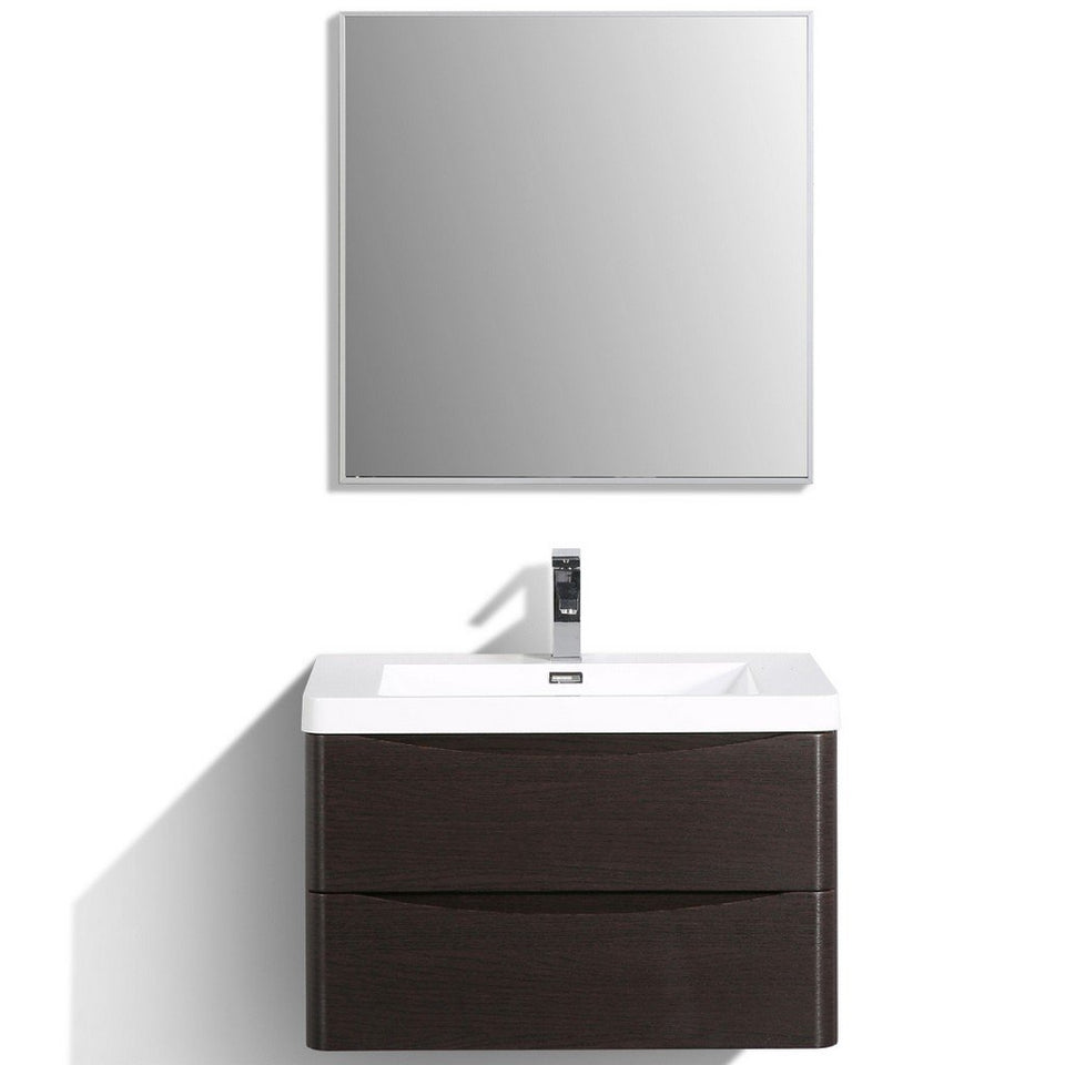 "Eviva Smile 30"" Wall Mount Modern Bathroom Vanity with White Integrated Acrylic Top Eviva Vanities Chestnut"