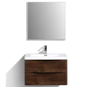 "Eviva Smile 30"" Wall Mount Modern Bathroom Vanity with White Integrated Acrylic Top Eviva Vanities Rosewood"