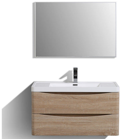 "Eviva Smile 36"" Wall Mount Modern Bathroom Vanity with White Integrated Acrylic Top Eviva Vanities White Oak"