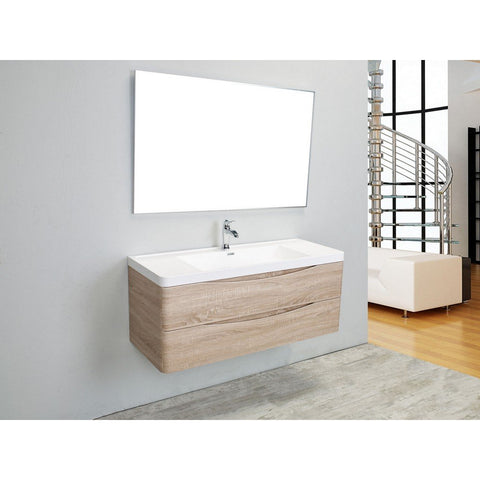 "Eviva Smile 48"" Wall Mount Modern Bathroom Vanity with White Integrated Acrylic Top Eviva Vanities White Oak"