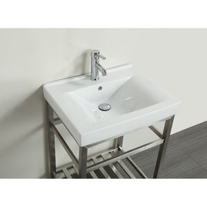 "Eviva Stone 24"" Stainless Steel Bathroom Vanity with White Integrated Porcelain Sink Eviva Vanities"