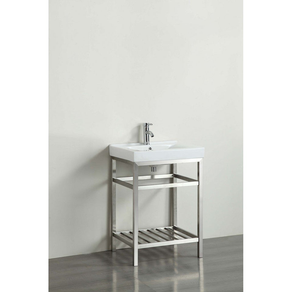 "Eviva Stone 24"" Stainless Steel Bathroom Vanity with White Integrated Porcelain Sink Eviva Vanities Stainless Steal"