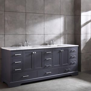 "Eviva Storehouse 84"" Bathroom Vanity with White Carrara Marble Countertop and Undermount Porcelain Sinks Eviva Vanities"
