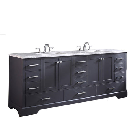 "Eviva Storehouse 84"" Bathroom Vanity with White Carrara Marble Countertop and Undermount Porcelain Sinks Eviva Vanities Dark Gray"