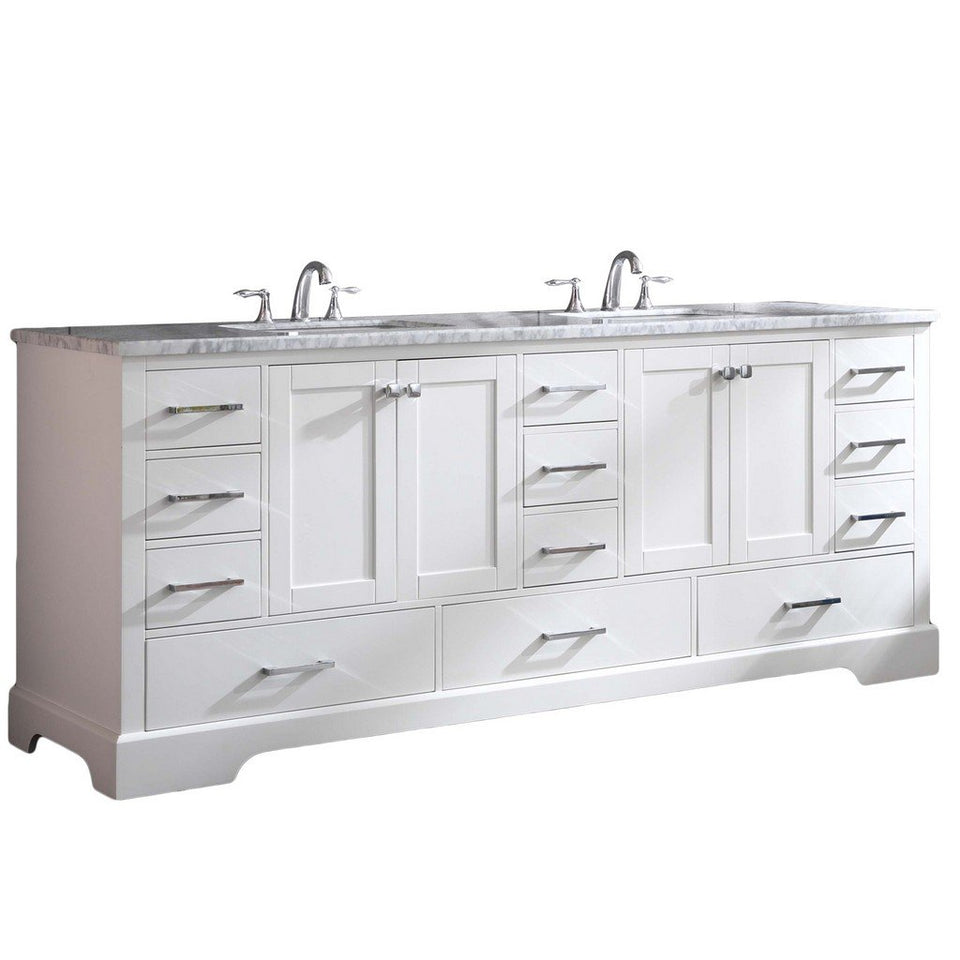 "Eviva Storehouse 84"" Bathroom Vanity with White Carrara Marble Countertop and Undermount Porcelain Sinks Eviva Vanities White"