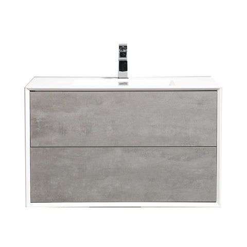 "Eviva Vienna 36"" Wall Mount Bathroom Vanity with White Integrated Acrylic Top Eviva Vanities Cement Gray"