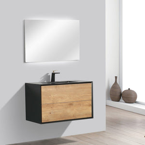 "Eviva Vienna 36"" White Oak with Black Frame Wall Mount Bathroom Vanity with Black Integrated Acrylic Top Eviva Vanities"