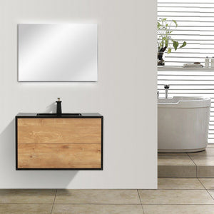 "Eviva Vienna 36"" White Oak with Black Frame Wall Mount Bathroom Vanity with Black Integrated Acrylic Top Eviva Vanities White Oak"