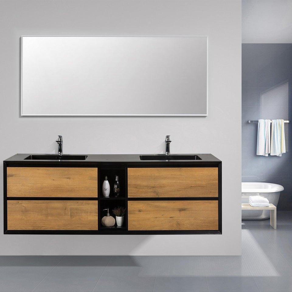 "Eviva Vienna 75"" Wall Mount Double Sink Bathroom Vanity with Black Integrated Acrylic Top Eviva Vanities"