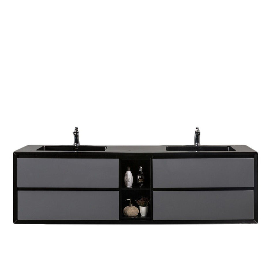 "Eviva Vienna 75"" Wall Mount Double Sink Bathroom Vanity with Black Integrated Acrylic Top Eviva Vanities Gray"