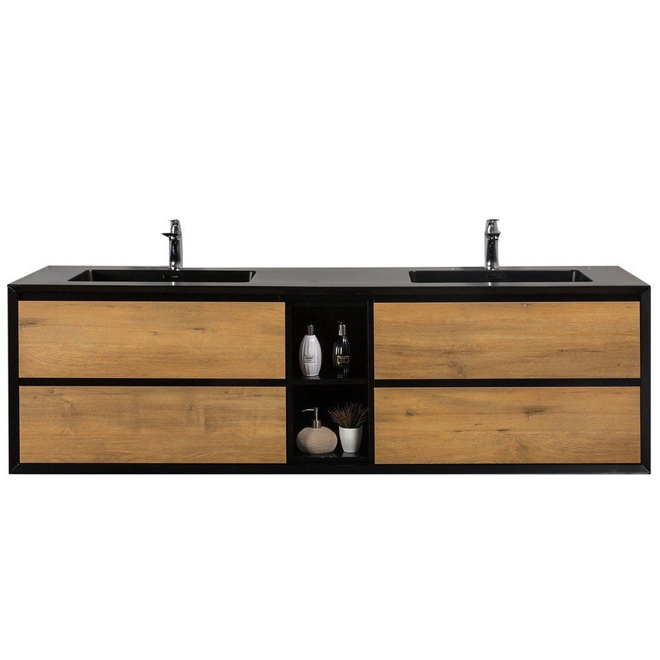 "Eviva Vienna 75"" Wall Mount Double Sink Bathroom Vanity with Black Integrated Acrylic Top Eviva Vanities White Oak"