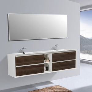 "Eviva Vienna 75"" Wall Mount Double Sink Bathroom Vanity with White Integrated Acrylic Top Eviva Vanities"
