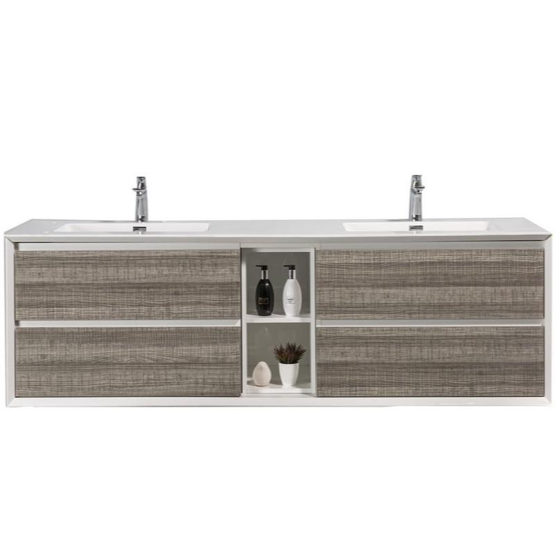 "Eviva Vienna 75"" Wall Mount Double Sink Bathroom Vanity with White Integrated Acrylic Top Eviva Vanities Ash"