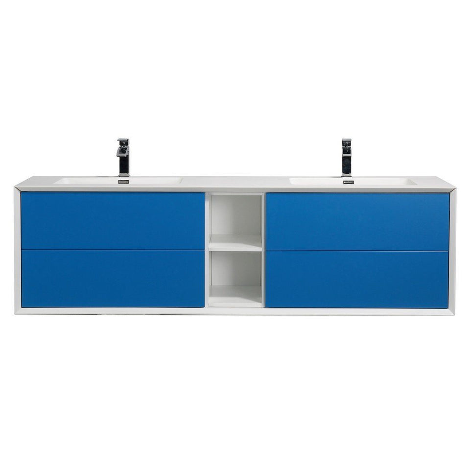 "Eviva Vienna 75"" Wall Mount Double Sink Bathroom Vanity with White Integrated Acrylic Top Eviva Vanities Blue"