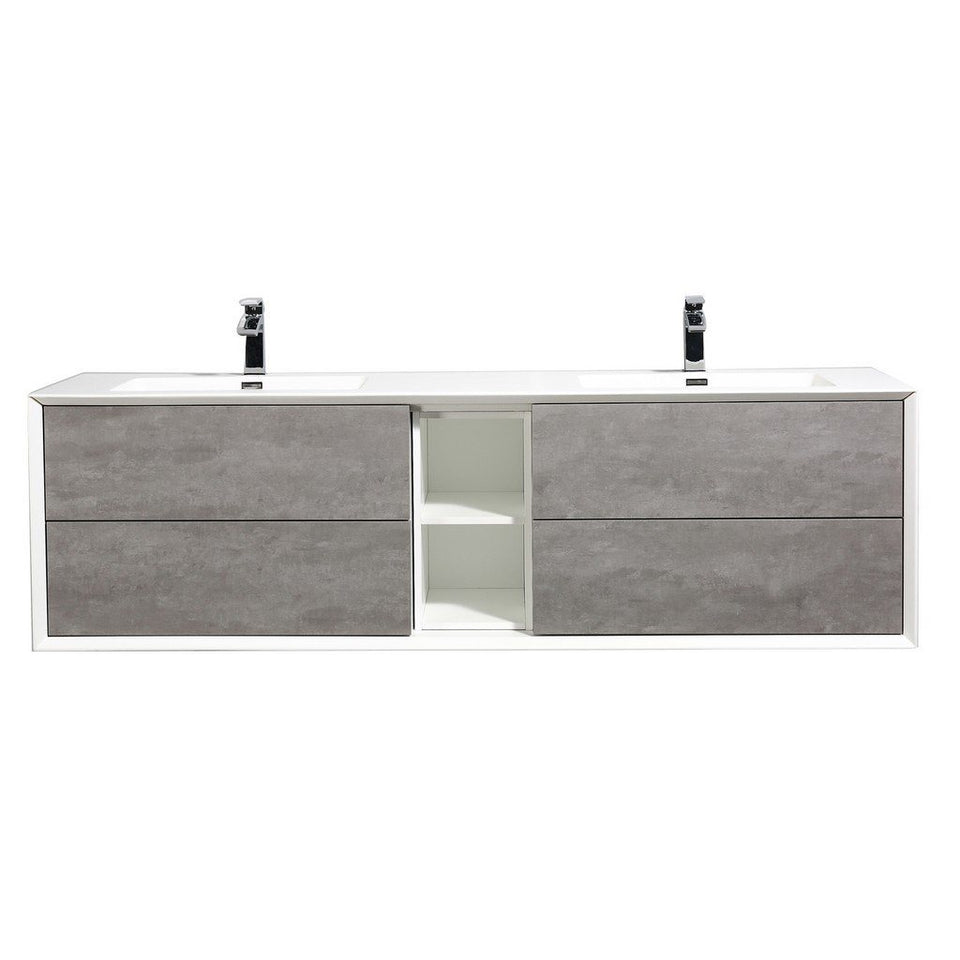 "Eviva Vienna 75"" Wall Mount Double Sink Bathroom Vanity with White Integrated Acrylic Top Eviva Vanities Cement Gray"
