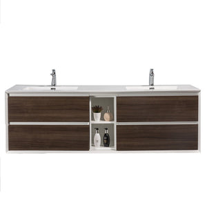 "Eviva Vienna 75"" Wall Mount Double Sink Bathroom Vanity with White Integrated Acrylic Top Eviva Vanities Gray Oak"