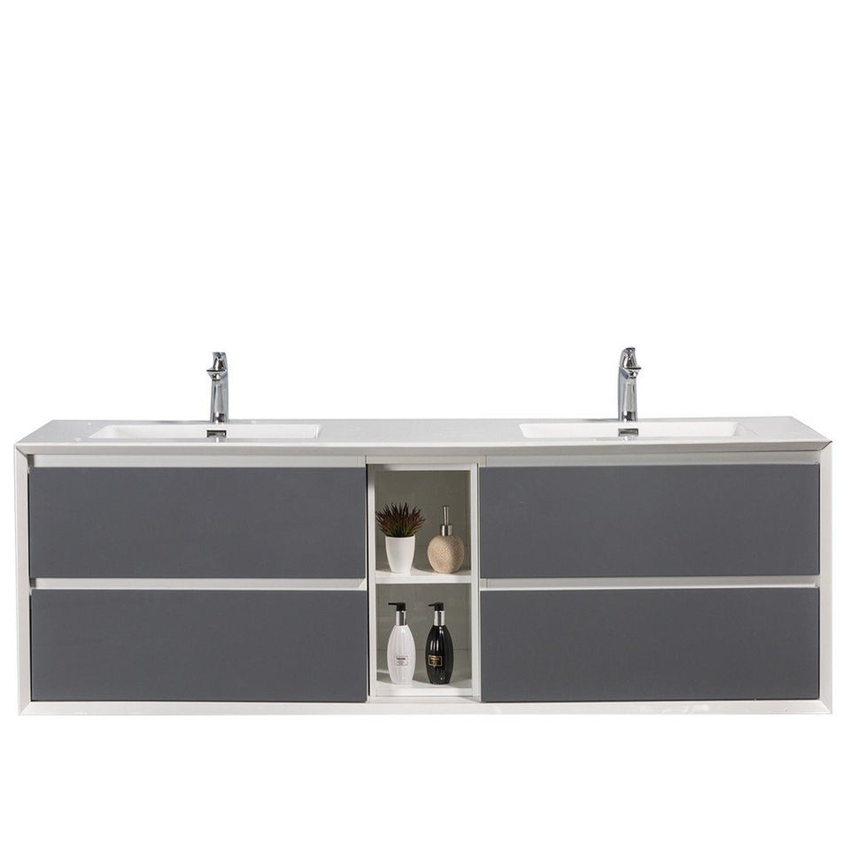 "Eviva Vienna 75"" Wall Mount Double Sink Bathroom Vanity with White Integrated Acrylic Top Eviva Vanities Gray"