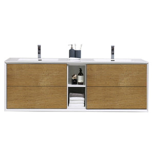 "Eviva Vienna 75"" Wall Mount Double Sink Bathroom Vanity with White Integrated Acrylic Top Eviva Vanities White Oak"
