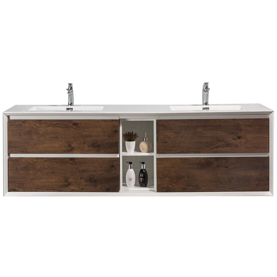 "Eviva Vienna 75"" Wall Mount Double Sink Bathroom Vanity with White Integrated Acrylic Top Eviva Vanities Rosewood"