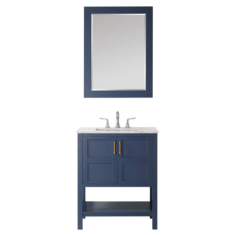 "Florence 30"" Vanity in Royal Blue with Carrara White Marble Countertop Vinnova Vanities"