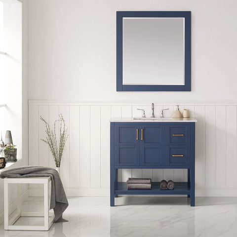 "Florence 36"" Vanity in Royal Blue with Carrara White Marble Countertop Vinnova Vanities"