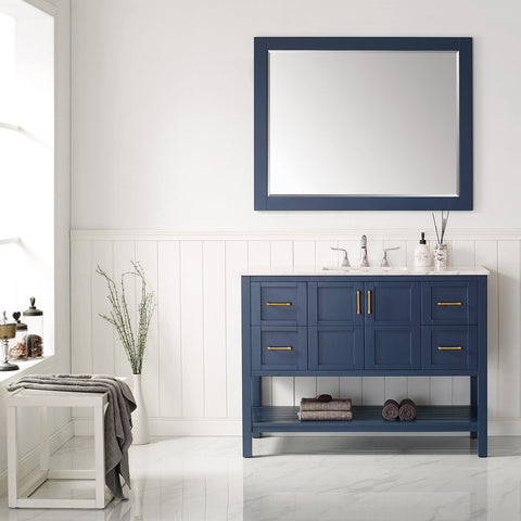 "Florence 48"" Vanity in Royal Blue with Carrara White Marble Countertop Vinnova Vanities"