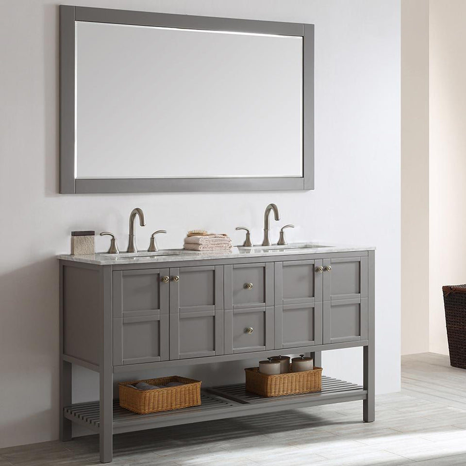 "Florence 60"" Double Vanity in Grey with Carrara White Marble Countertop Vinnova Vanities"