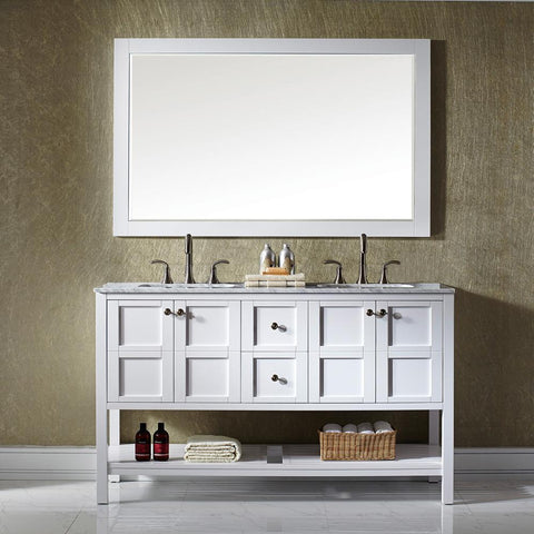 "Florence 60"" Vanity in White with Carrara White Marble Countertop Vinnova Vanities"
