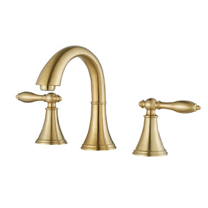 Florence Two-Handle 8-Inch Widespread Bathroom Faucet Vinnova Faucets Brushed Gold