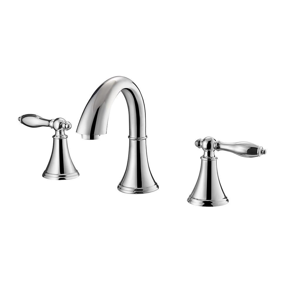 Florence Two-Handle 8-Inch Widespread Bathroom Faucet Vinnova Faucets Polished Chrome