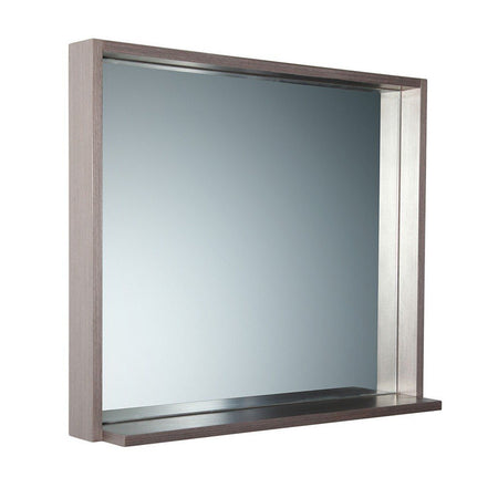 "Fresca Allier 30"" Mirror with Shelf Fresca Mirrors Gray Oak"