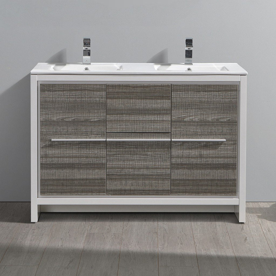 "Fresca Allier Rio 48"" Modern Double Sink Bathroom Vanity with Sinks Fresca 48 inch Double Vanity"