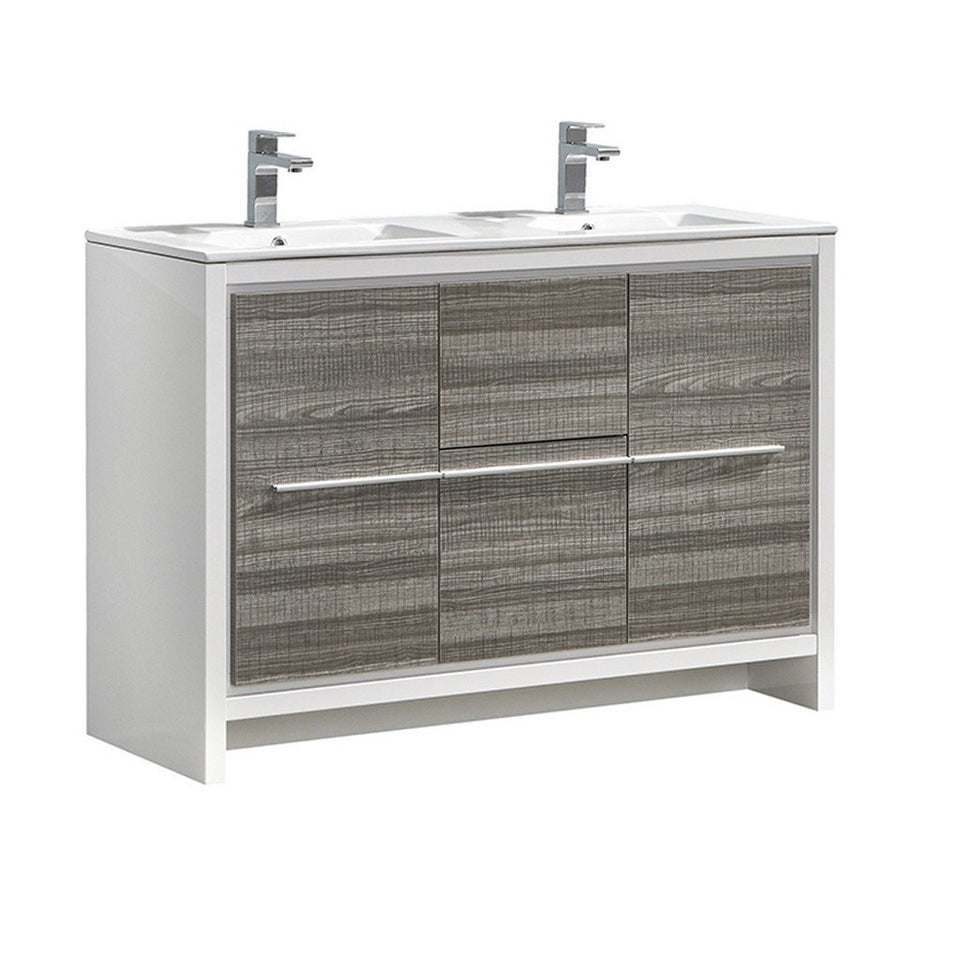 "Fresca Allier Rio 48"" Modern Double Sink Bathroom Vanity with Sinks Fresca 48 inch Double Vanity Ash Gray"
