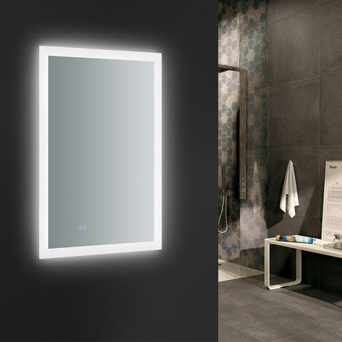 "Fresca Angelo 24"" Wide x 36"" Tall Bathroom Mirror with Halo Style LED Lighting and Defogger Fresca Mirrors Glass"
