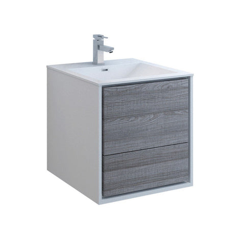 "Fresca Catania 24"" Wall Hung Modern Bathroom Cabinet with Integrated Sink Fresca 24 inch Single Vanity Glossy Ash Gray"