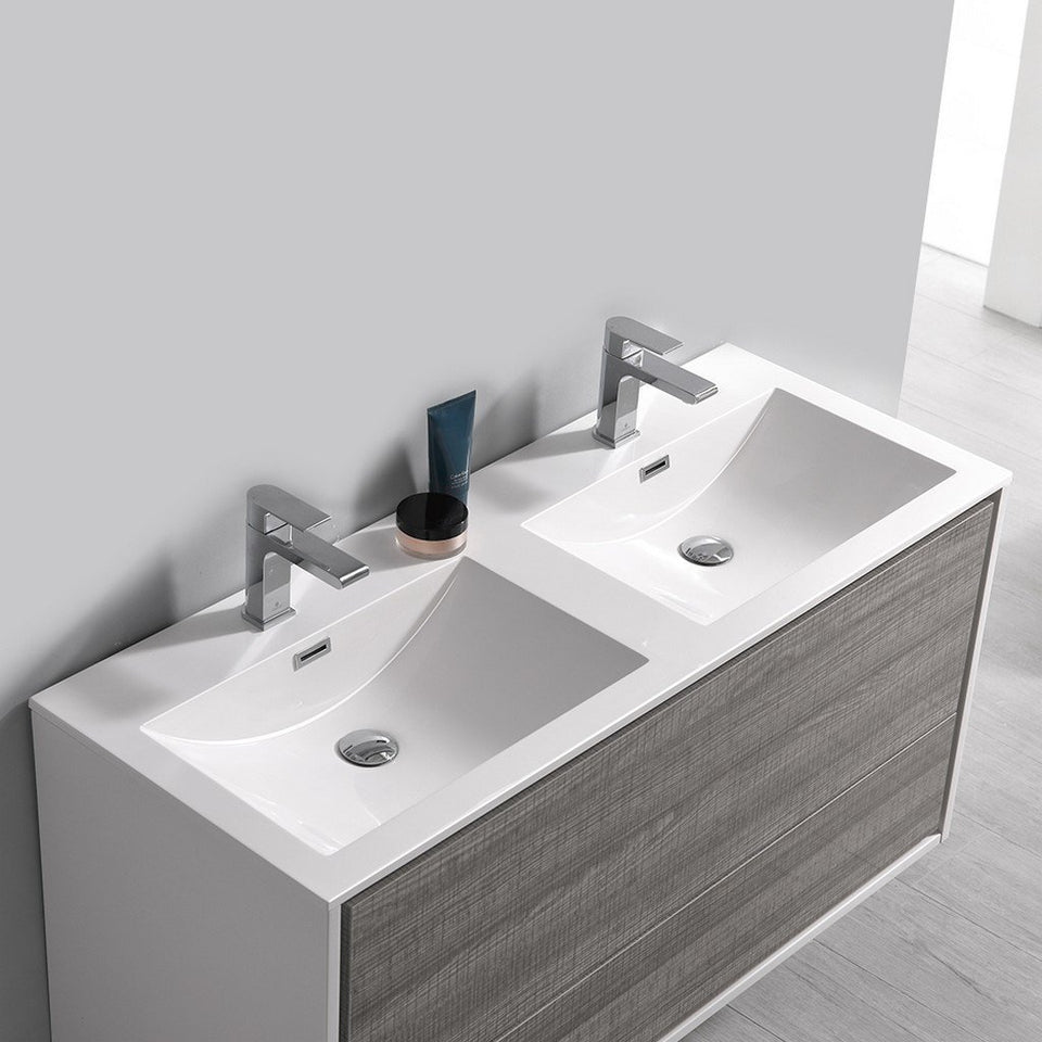 "Fresca Catania 48"" Wall Hung Modern Bathroom Cabinet with Integrated Double Sink Fresca 48 inch Double Vanity"