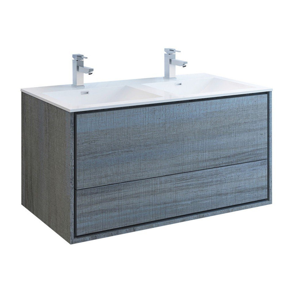 "Fresca Catania 48"" Wall Hung Modern Bathroom Cabinet with Integrated Double Sink Fresca 48 inch Double Vanity Ocean Gray"