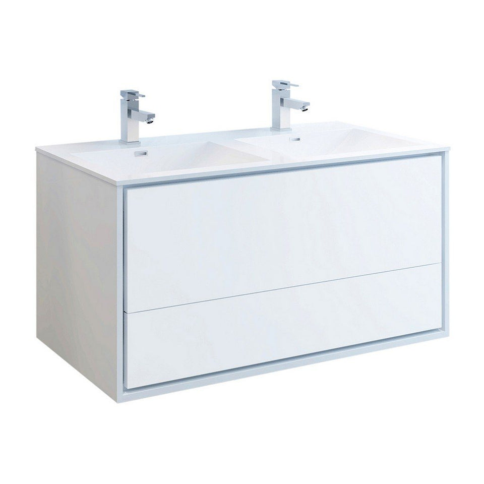 "Fresca Catania 48"" Wall Hung Modern Bathroom Cabinet with Integrated Double Sink Fresca 48 inch Double Vanity Glossy White"