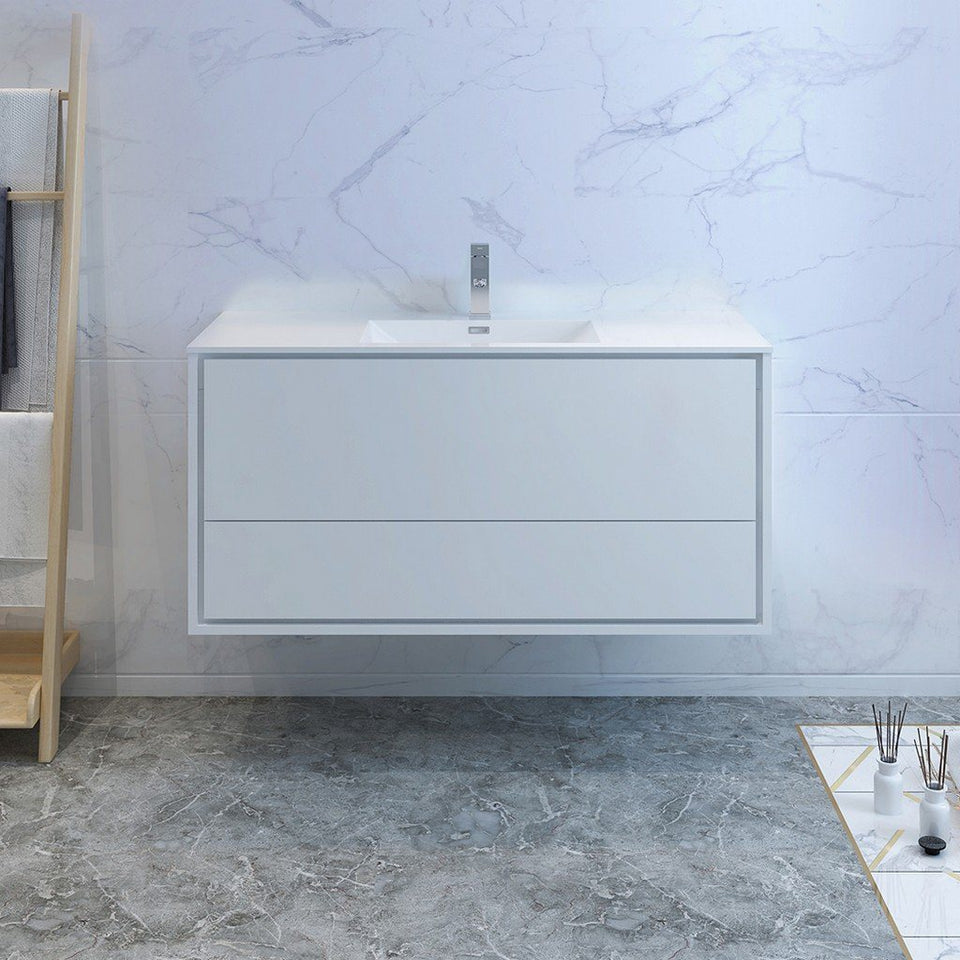 "Fresca Catania 48"" Wall Hung Modern Bathroom Cabinet with Integrated Sink Fresca 48 inch Single Vanity"