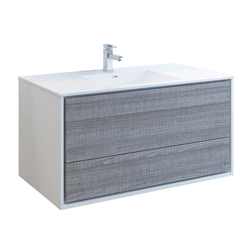 "Fresca Catania 48"" Wall Hung Modern Bathroom Cabinet with Integrated Sink Fresca 48 inch Single Vanity Glossy Ash Gray"