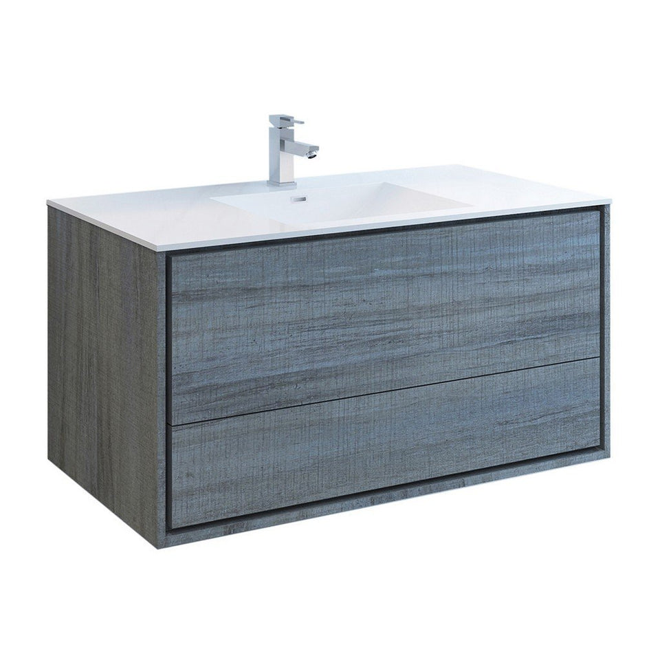 "Fresca Catania 48"" Wall Hung Modern Bathroom Cabinet with Integrated Sink Fresca 48 inch Single Vanity Ocean Gray"