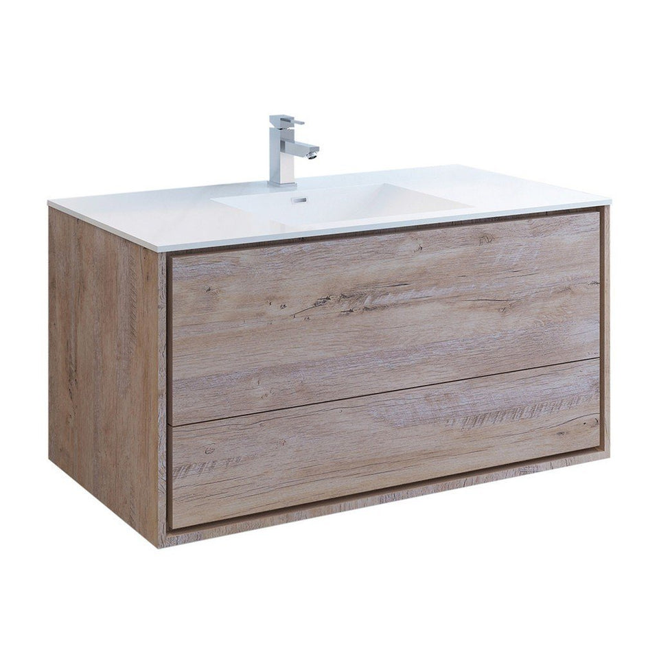 "Fresca Catania 48"" Wall Hung Modern Bathroom Cabinet with Integrated Sink Fresca 48 inch Single Vanity Rustic Natural Wood"