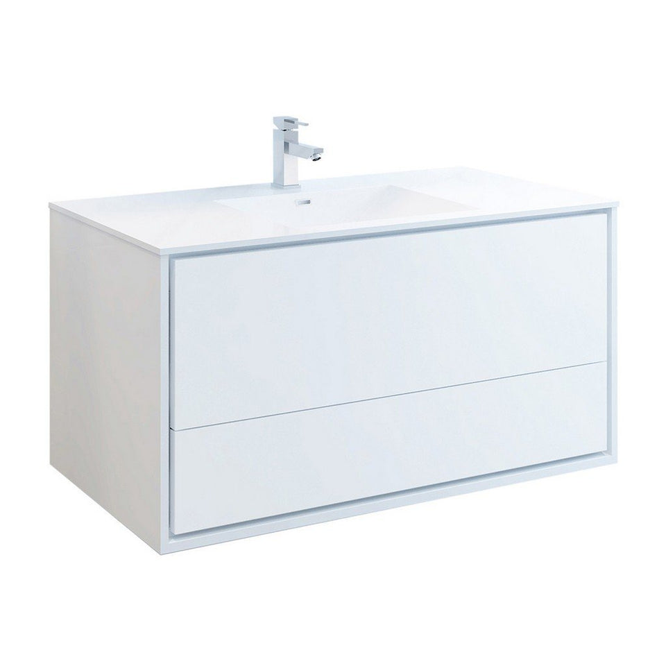 "Fresca Catania 48"" Wall Hung Modern Bathroom Cabinet with Integrated Sink Fresca 48 inch Single Vanity Glossy White"