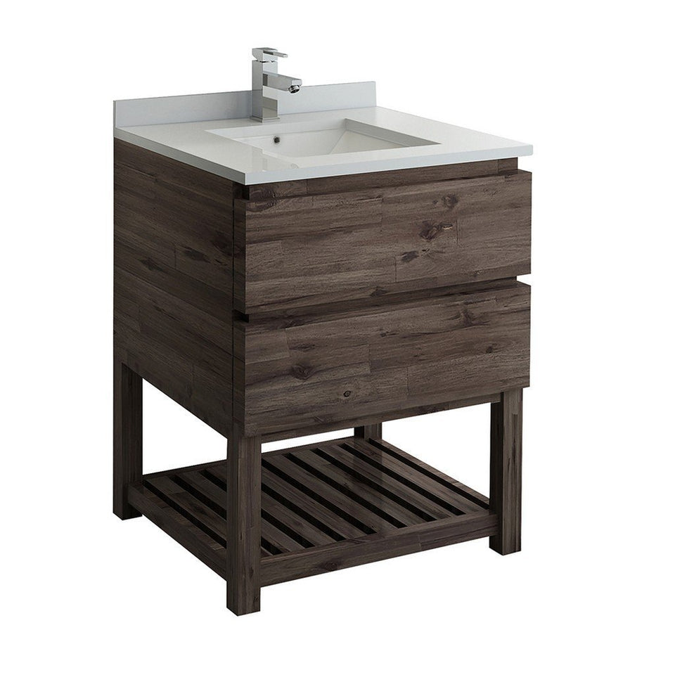 "Fresca Formosa 30"" Floor Standing Open Bottom Modern Bathroom Cabinet with Top & Sink Fresca 30 inch Single Vanity Acacia Wood"