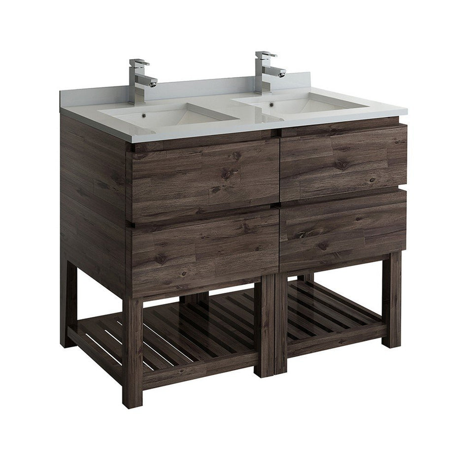 "Fresca Formosa 48"" Floor Standing Open Bottom Double Sink Modern Bathroom Cabinet with Top & Sinks Fresca 48 inch Double Vanity"