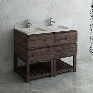 "Fresca Formosa 48"" Floor Standing Open Bottom Double Sink Modern Bathroom Cabinet with Top & Sinks Fresca 48 inch Double Vanity Acacia Wood"