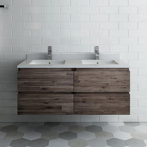 "Fresca Formosa 48"" Wall Hung Double Sink Modern Bathroom Cabinet with Top & Sinks Fresca 48 inch Double Vanity"